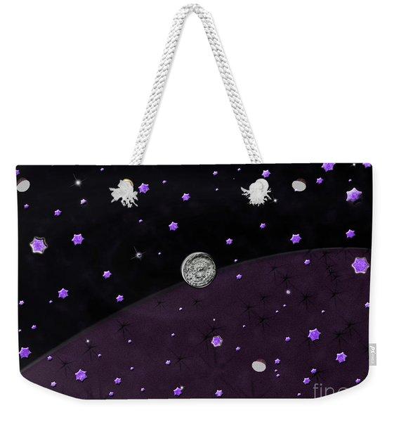 Lost In Midnight Charcoal Stars Weekender Tote Bag