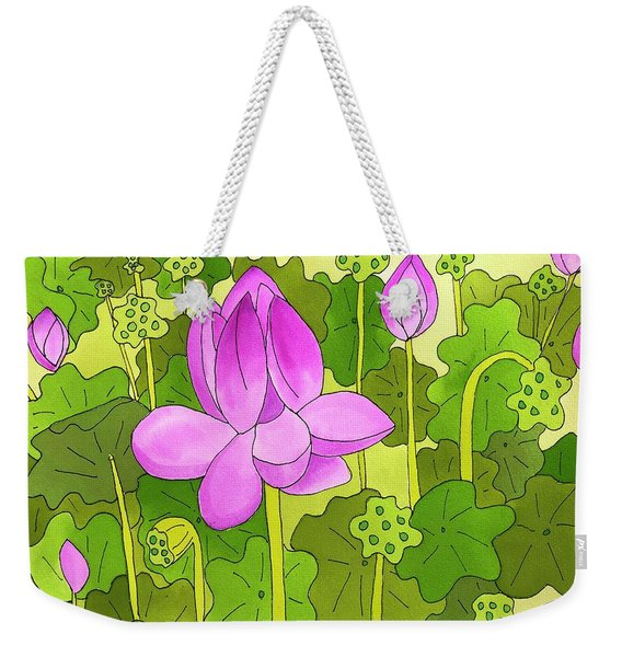 Weekender Tote Bag featuring the painting Lotus And Waterlilies by Suzy Mandel-Canter