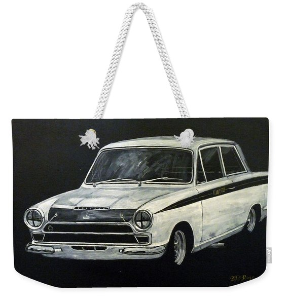 Weekender Tote Bag featuring the painting Lotus Cortina by Richard Le Page