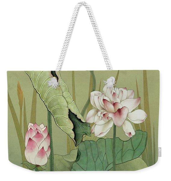 Lotus Flower And Hummingbird Weekender Tote Bag