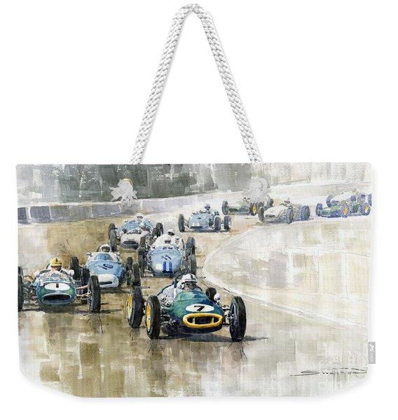 1961 Germany Gp  #7 Lotus Climax Stirling Moss Winner  Weekender Tote Bag