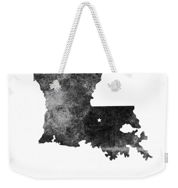 Louisiana State Map Art - Grunge Silhouette Weekender Tote Bag