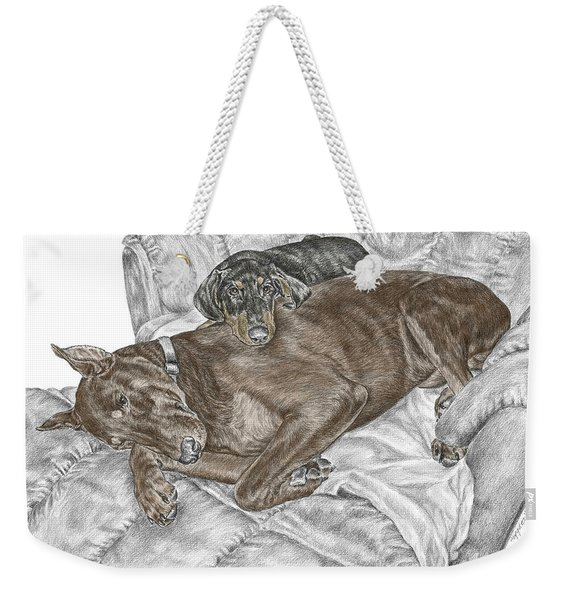 Lounge Lizards - Doberman Pinscher Puppy Print Color Tinted Weekender Tote Bag