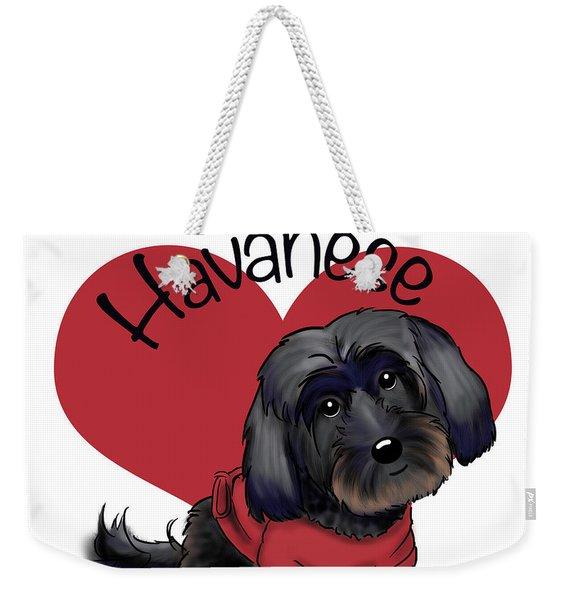 Lovable Black Havanese Weekender Tote Bag