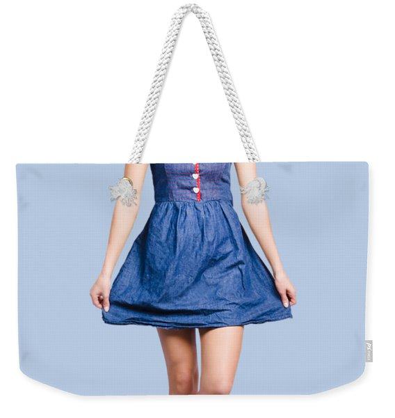 Lovable Eighties Female Pin-up In Denim Dress Weekender Tote Bag