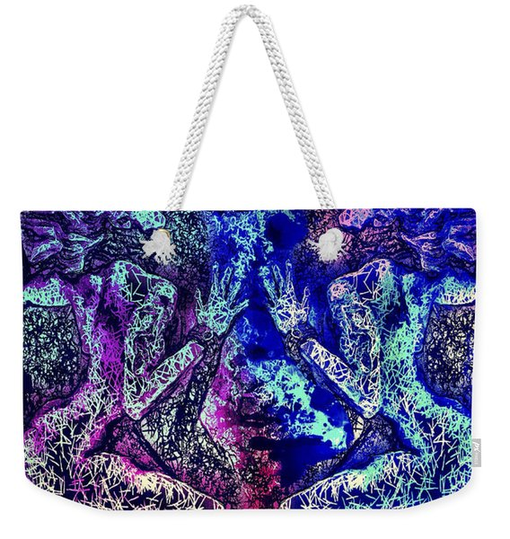 Weekender Tote Bag featuring the mixed media Love And Agony by Al Matra