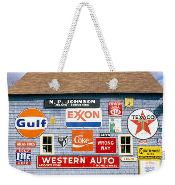 Love Barn With Road Signs, Orland, Maine Weekender Tote Bag