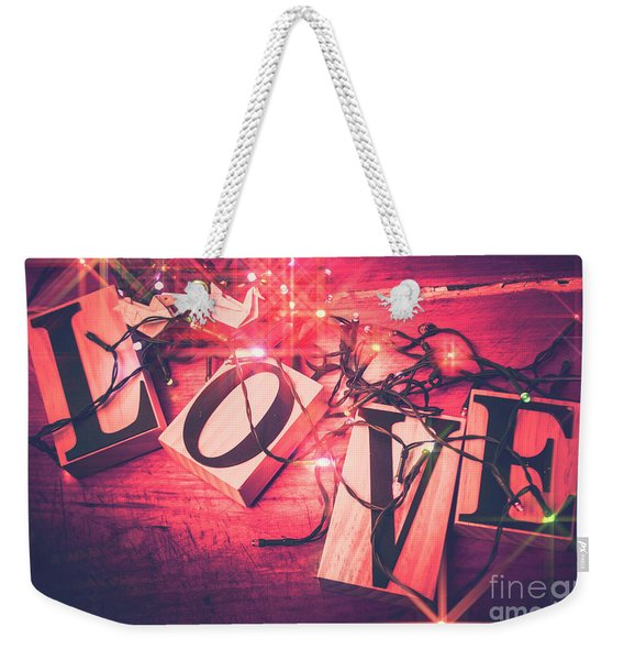 Love Birds And Wooden Sentiments Weekender Tote Bag