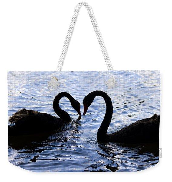 Love Birds On Swan Lake Weekender Tote Bag