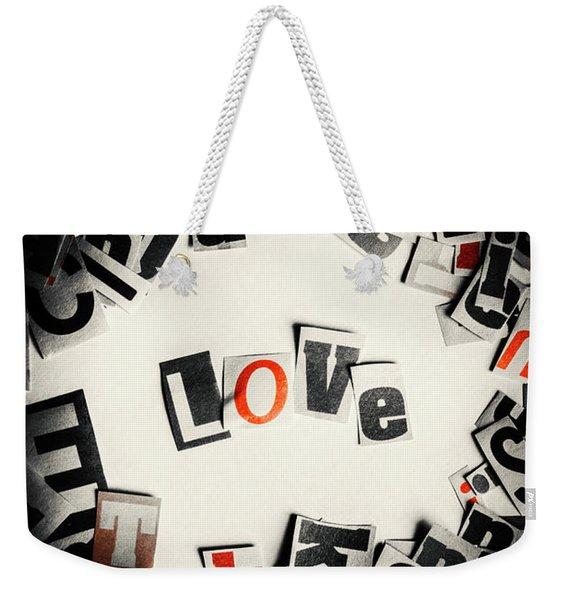 Love In Letters Weekender Tote Bag