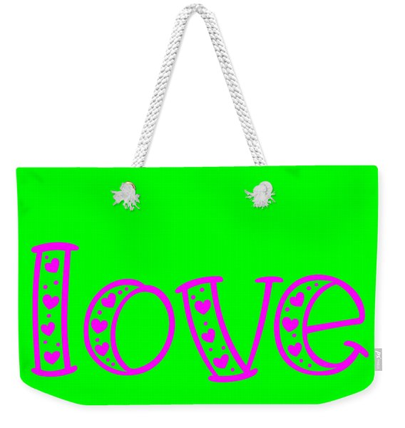Weekender Tote Bag featuring the digital art Love In Magenta And Green by Bee-Bee Deigner