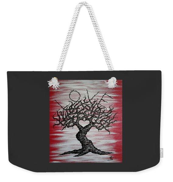 Weekender Tote Bag featuring the drawing Love Tree Art by Aaron Bombalicki