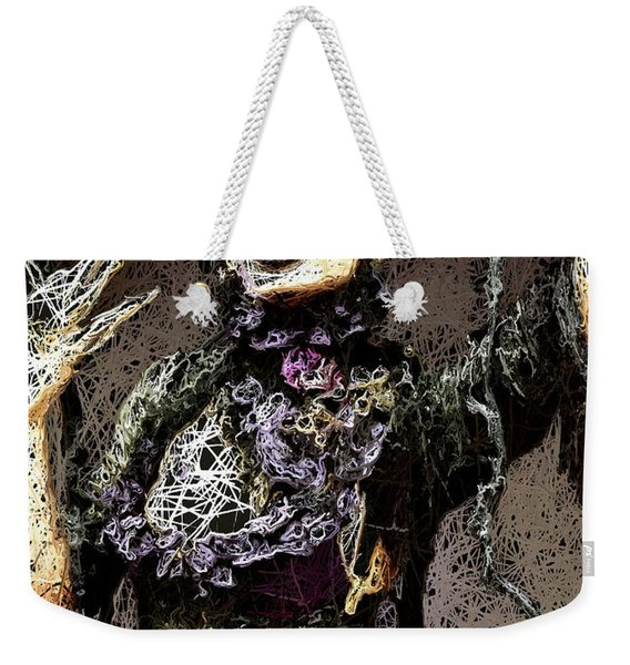 Weekender Tote Bag featuring the mixed media Lovely Agony by Al Matra