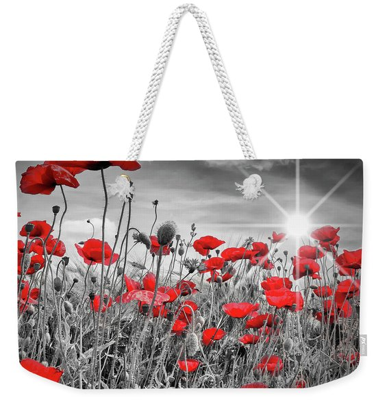 Lovely Field Of Poppies With Sun  Weekender Tote Bag