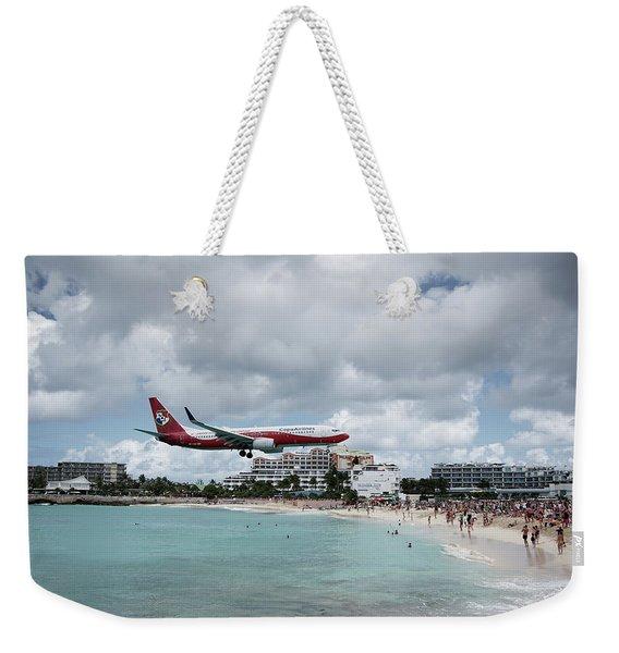 Low Landing At Sonesta Maho Beach Weekender Tote Bag