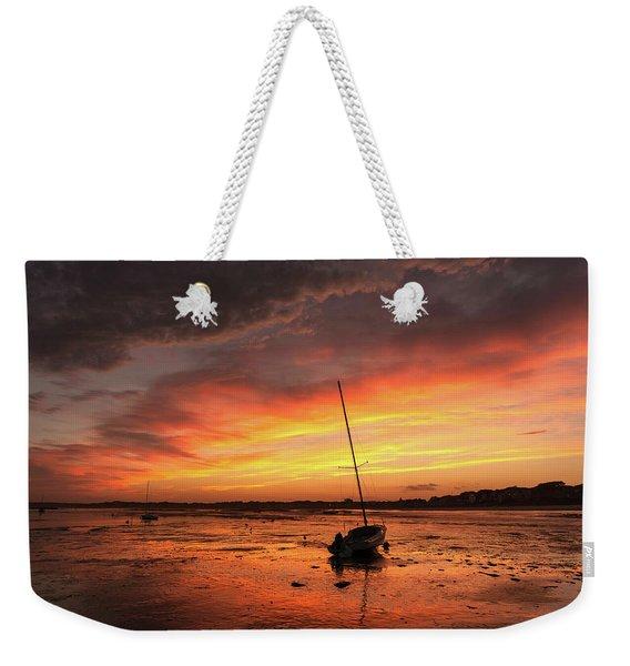 Low Tide Sunset Sailboats Weekender Tote Bag