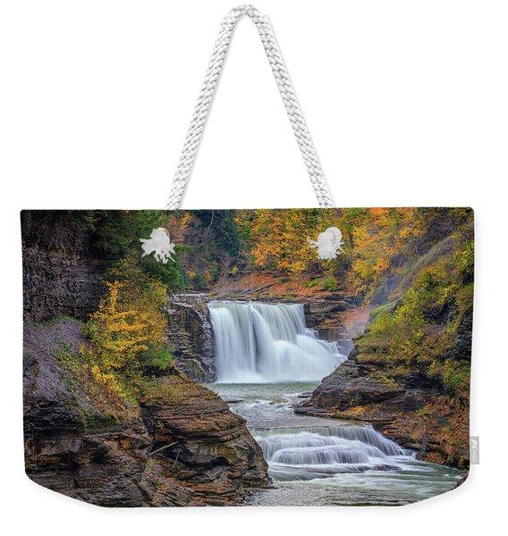 Lower Falls In Autumn Weekender Tote Bag