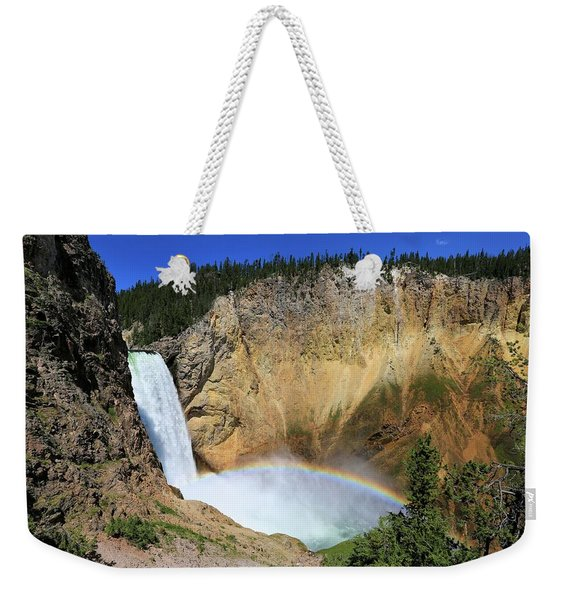 Lower Falls With A Rainbow Weekender Tote Bag