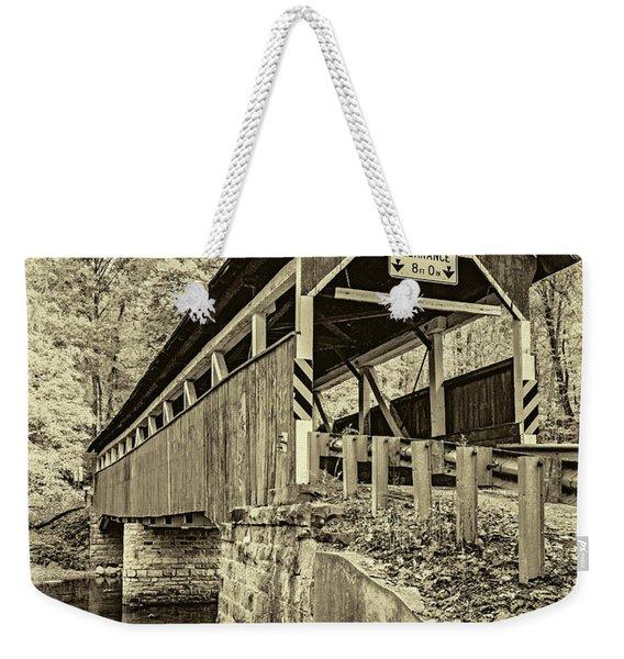 Lower Humbert Covered Bridge 2 - Sepia Weekender Tote Bag