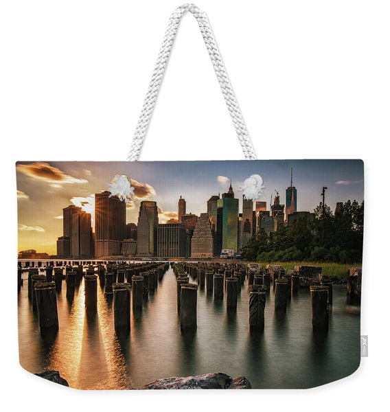 Lower Manhattan Sunset Twinkle Weekender Tote Bag