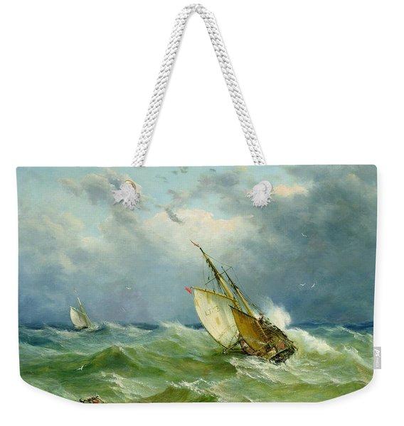 Lowestoft Trawler In Rough Weather Weekender Tote Bag