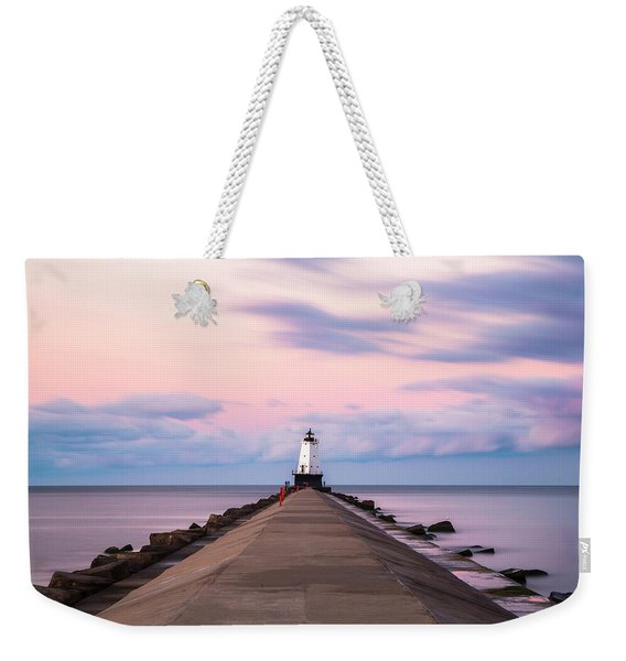 Ludington North Breakwater Light Sunrise Weekender Tote Bag