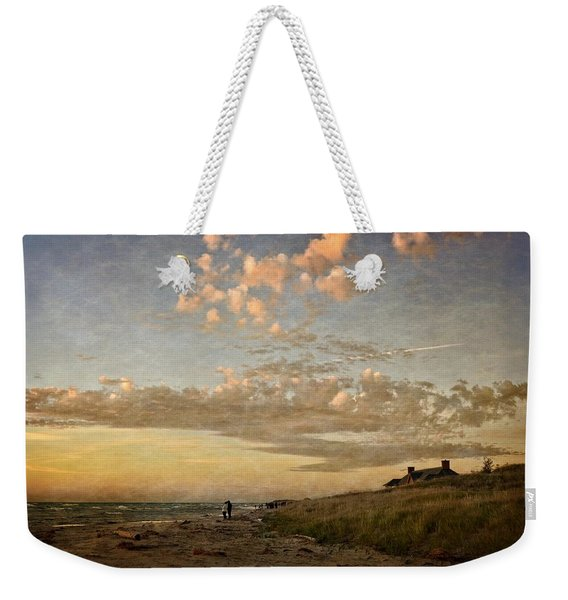 Ludington State Park Beach House At Sunset Weekender Tote Bag