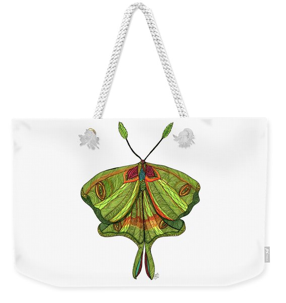 Weekender Tote Bag featuring the drawing Luna Moth by Barbara McConoughey