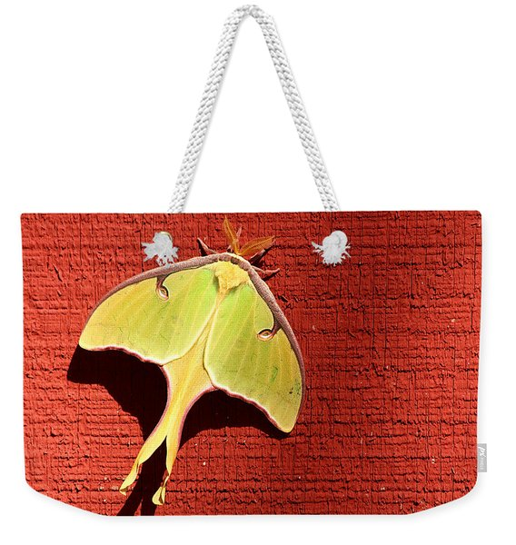 Luna Moth On Red Barn Weekender Tote Bag