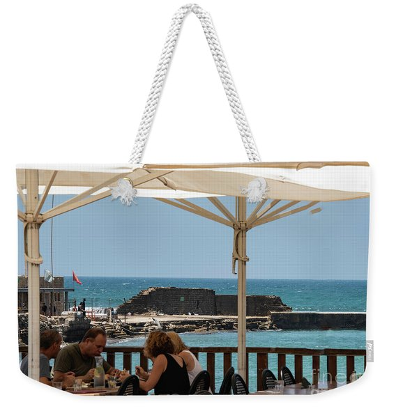 Weekender Tote Bag featuring the photograph Lunch At The Mediterranean by Mae Wertz