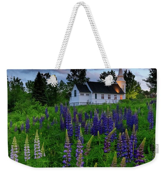 Lupines By The Church Weekender Tote Bag