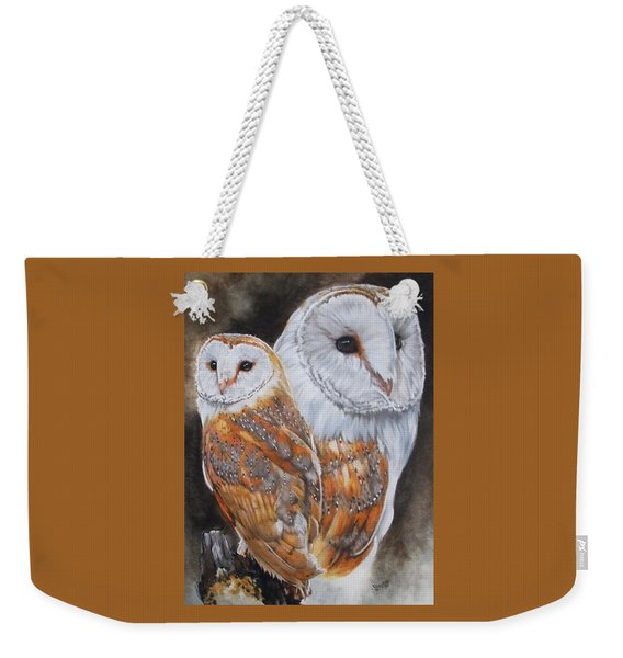 Weekender Tote Bag featuring the mixed media Luster by Barbara Keith