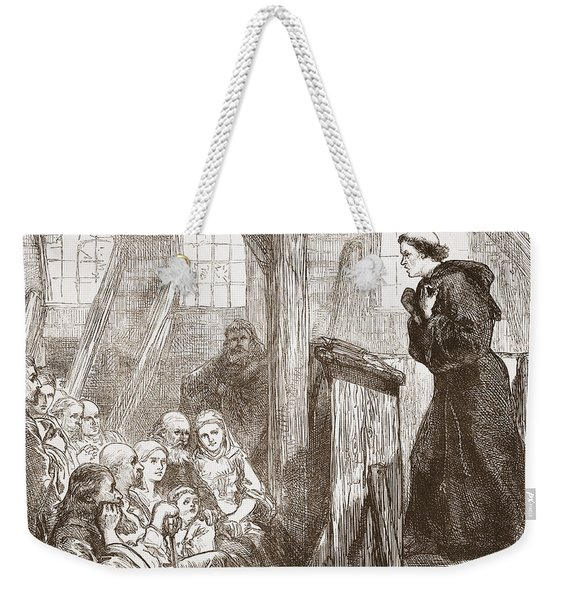 Luther Preaching In The Old Wooden Church At Wittemberg Weekender Tote Bag