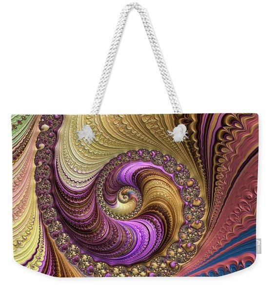 Luxe Colorful Fractal Spiral Weekender Tote Bag