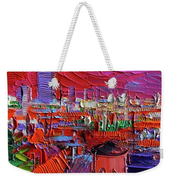 Lyon View In Pink Weekender Tote Bag