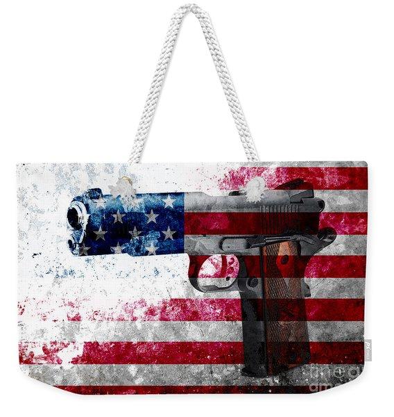 M1911 Colt 45 And American Flag On Distressed Metal Sheet Weekender Tote Bag