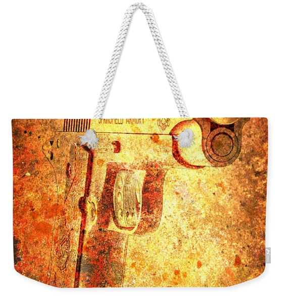 M1911 Muzzle On Rusted Background 3/4 View Weekender Tote Bag
