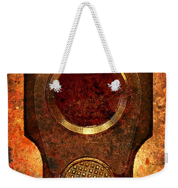 M1911 Muzzle On Rusted Background Weekender Tote Bag