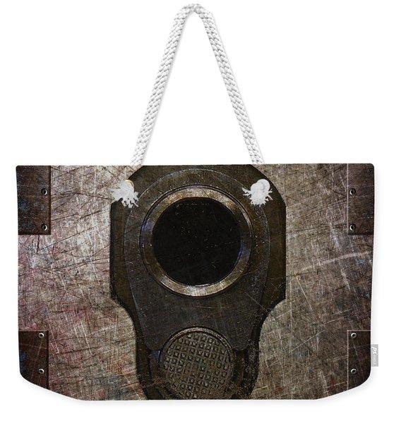 M1911 Muzzle On Rusted Riveted Metal Dark Weekender Tote Bag
