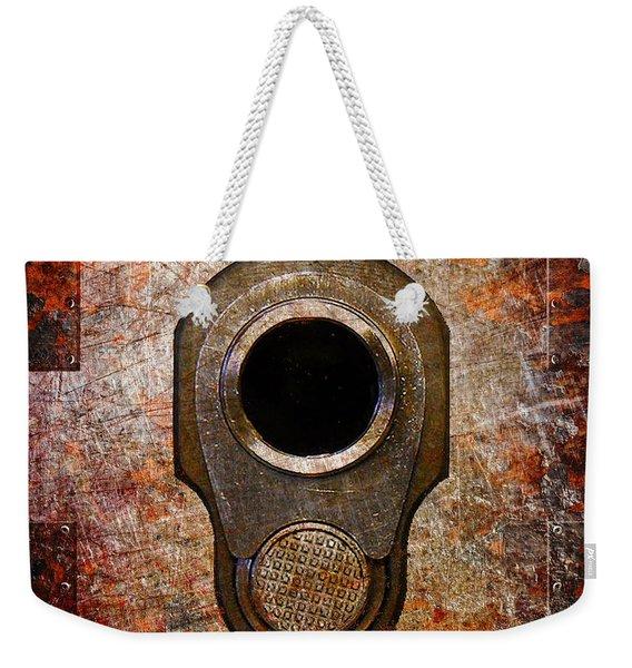 M1911 Muzzle On Rusted Riveted Metal Weekender Tote Bag