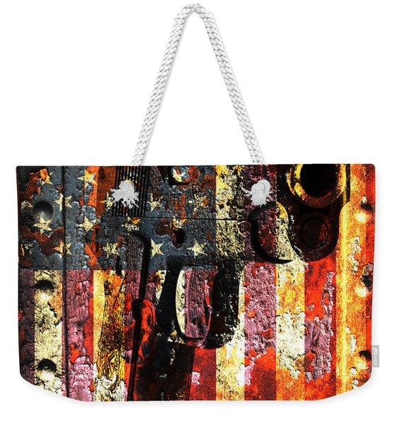 M1911 Silhouette On Rusted American Flag Weekender Tote Bag