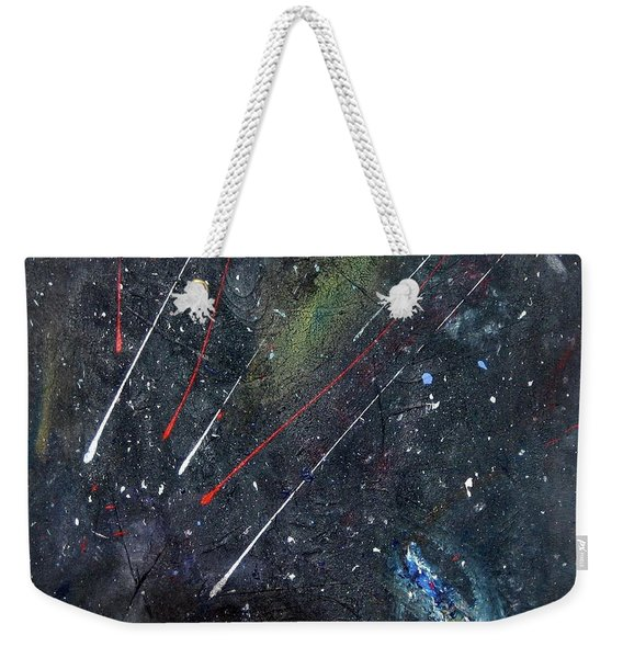 Weekender Tote Bag featuring the painting M51 by Michael Lucarelli