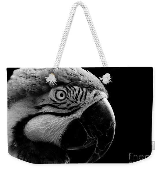 Macaw Parrot Portrait Black And White Weekender Tote Bag