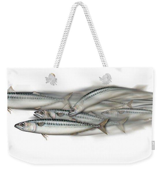 Mackerel School Of Fish - Scomber - Nautical Art - Seafood Art - Marine Art -game Fish Weekender Tote Bag