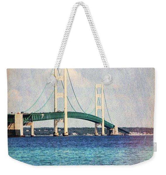 Mackinac Bridge Color Grunge Weekender Tote Bag