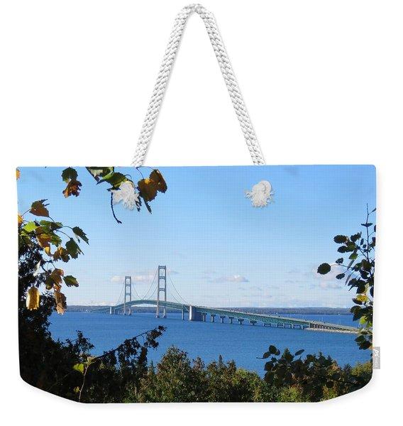 Mackinac Bridge In Early Fall Weekender Tote Bag