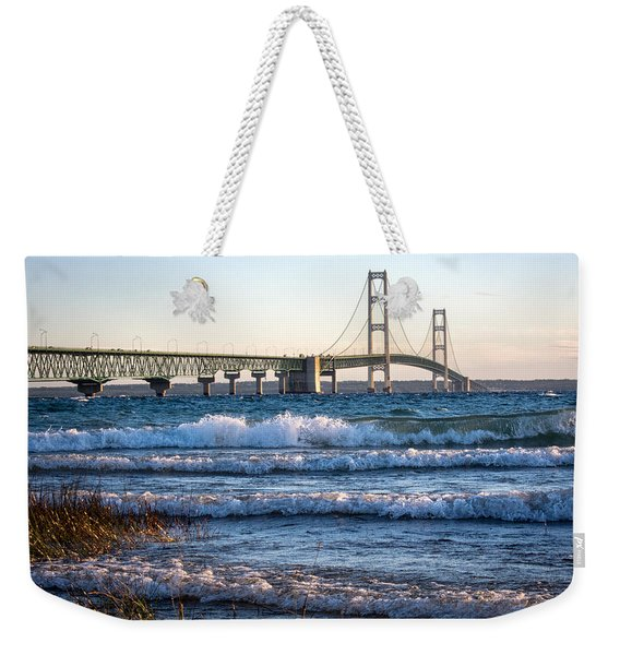 Weekender Tote Bag featuring the photograph Mackinac Bridge Michigan by Mary Lee Dereske