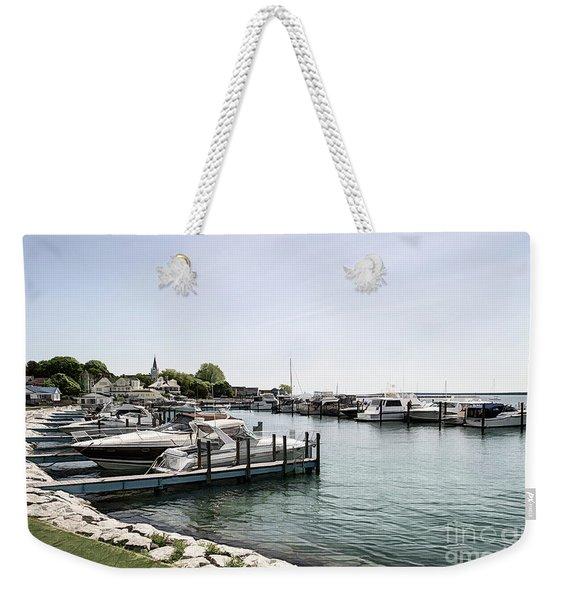 Mackinac Marina Art Weekender Tote Bag