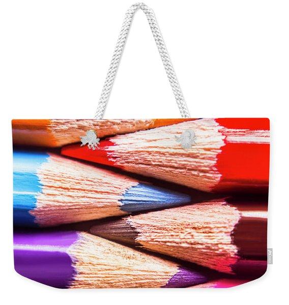Macro Coloured Pencil Crossover Weekender Tote Bag