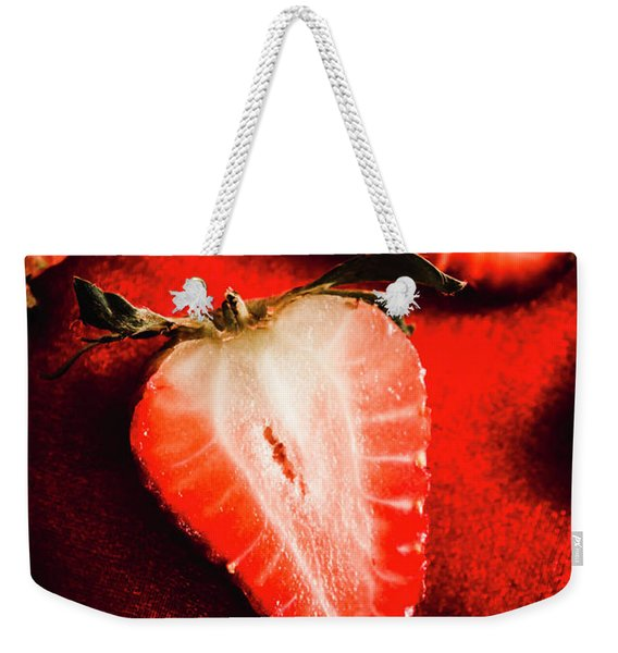 Macro Shot Of Ripe Strawberry Weekender Tote Bag